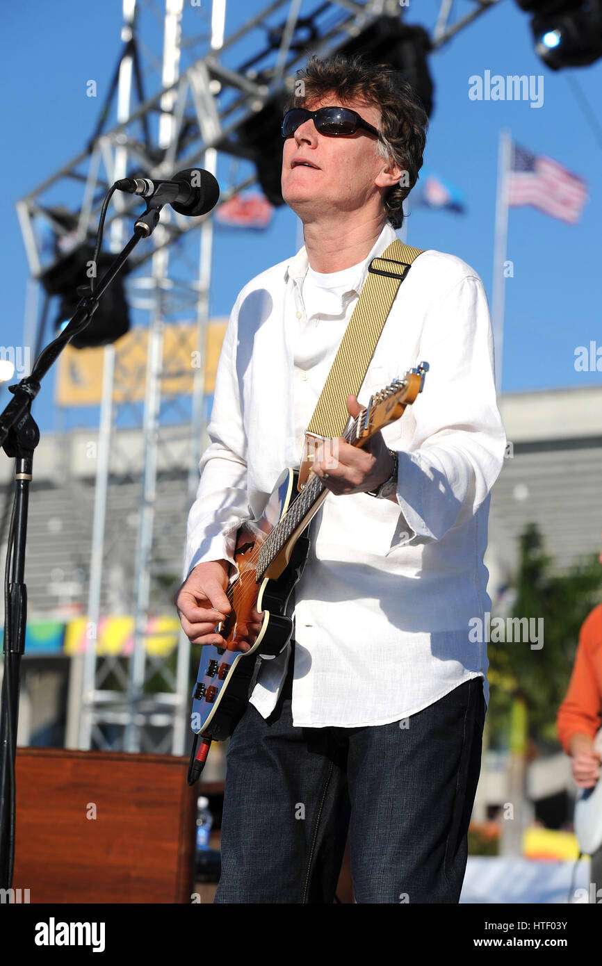 Steve Winwood performs during the Tailgate show at Sunlife stadium for Super Bowl XLIV on February 7th, 2010 in - Stock Image