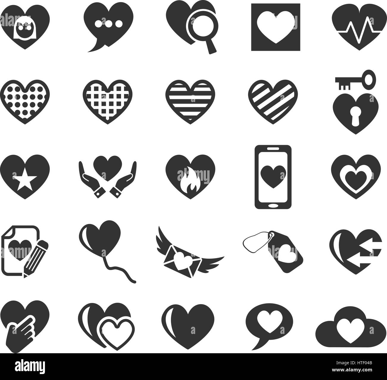 heart love web icons for user interface design - Stock Image