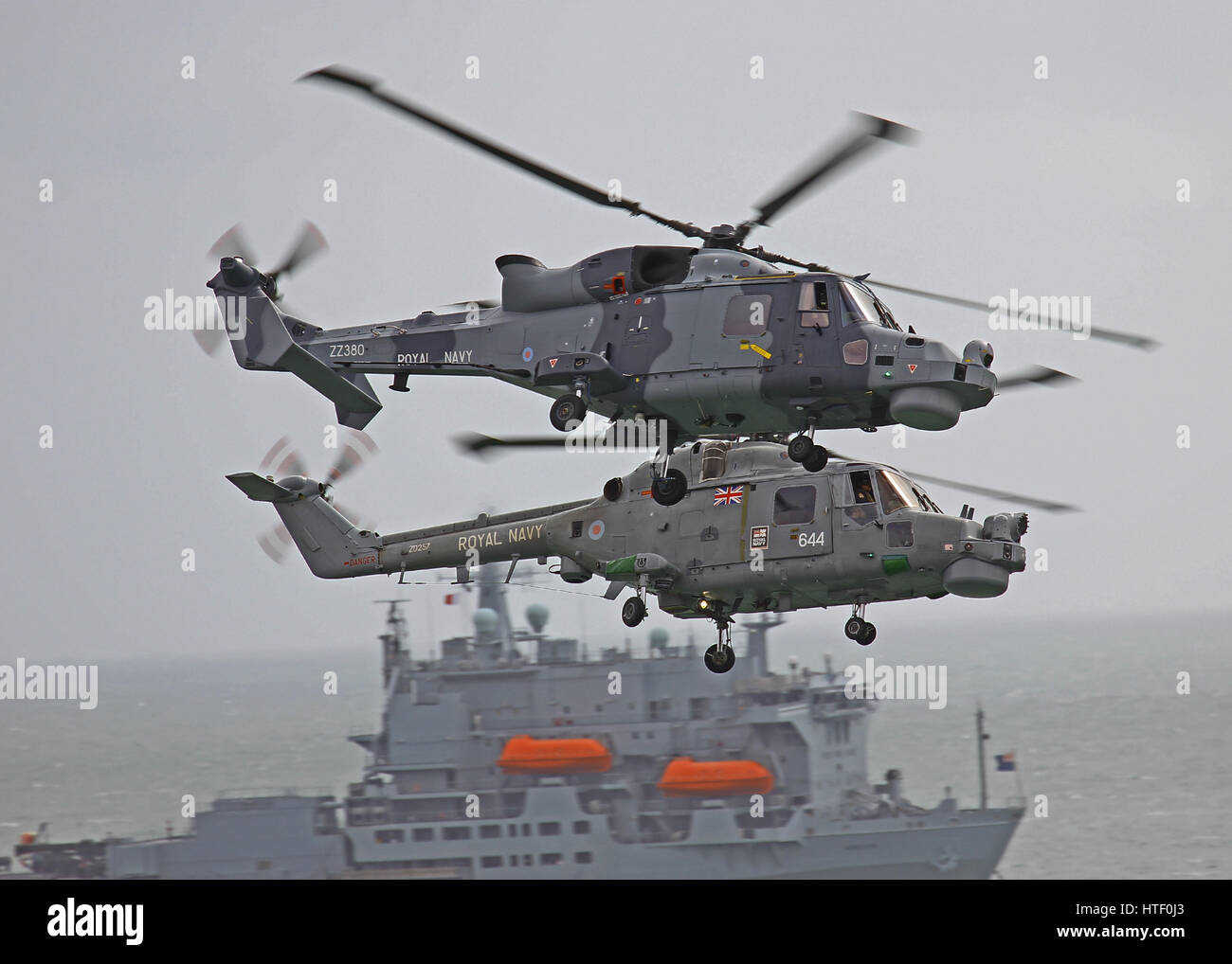 The Royal Navy Blackcats Westland Lynx HMA.8 (R) and Wildcat HMA.2 performing at Bournemouth Air Festival - Stock Image