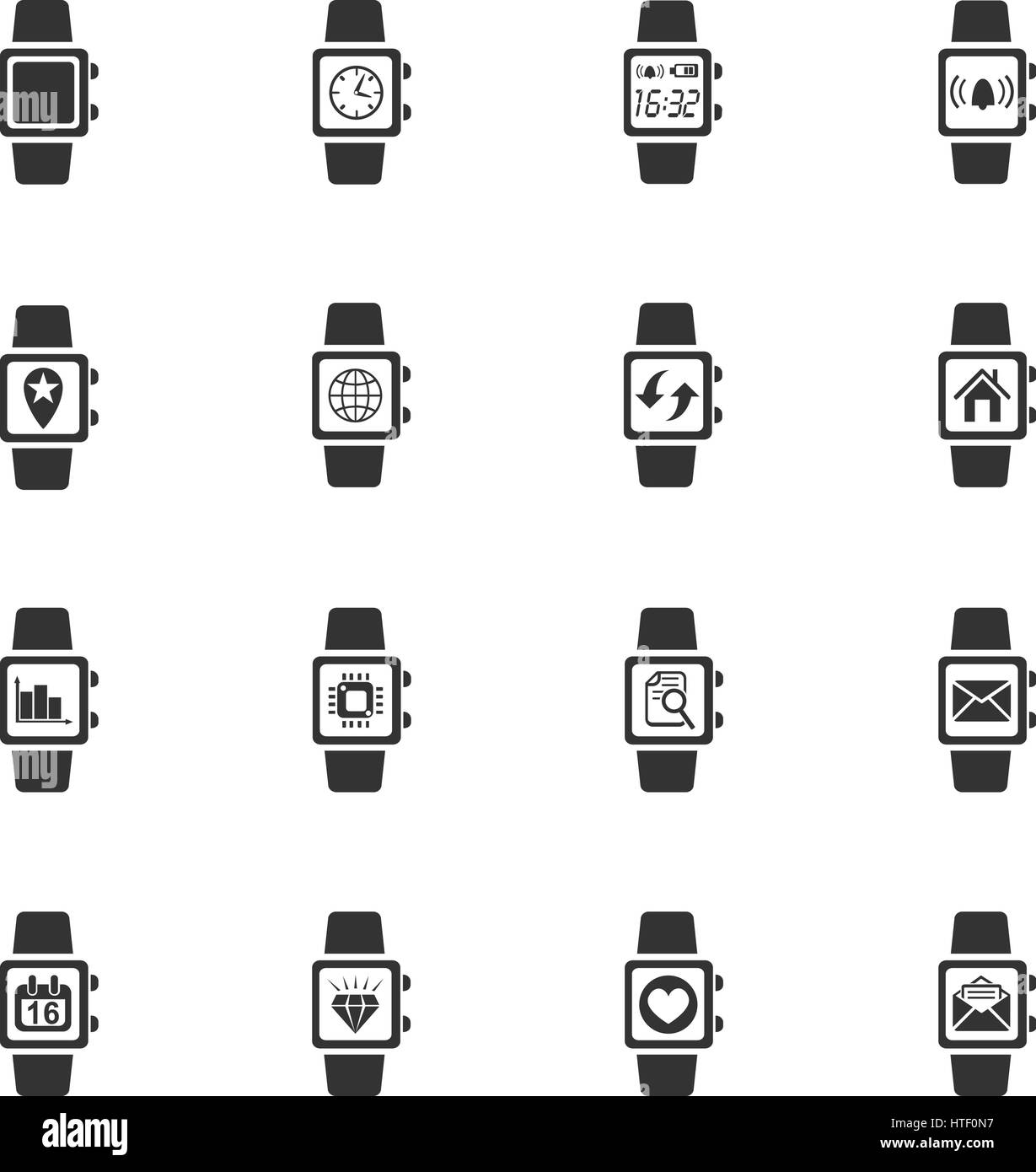 smart watch web icons for user interface design - Stock Image
