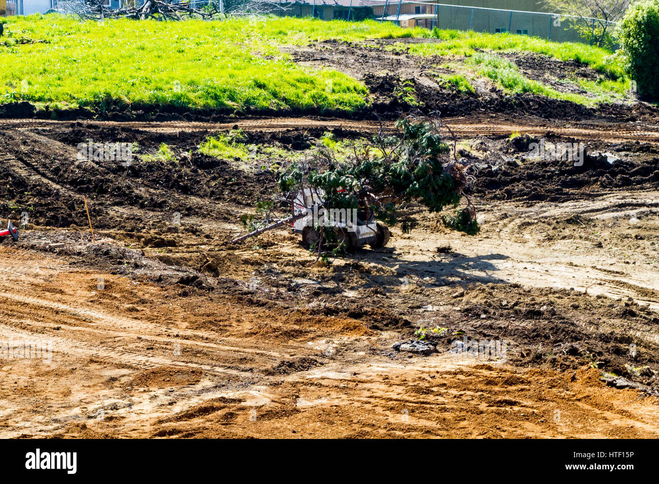 A Church now a pile of ground up concrete to be replaces with an apartment complex.  San Leandro California Stock Photo