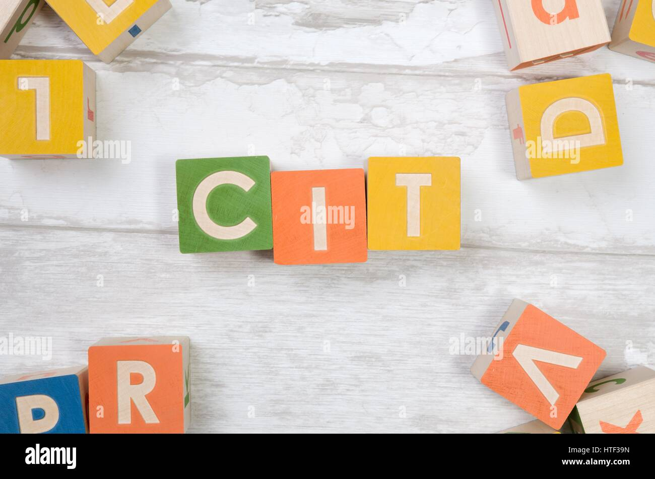CIT word with colorful blocks. polish tax form money business finance block top view concept - Stock Image