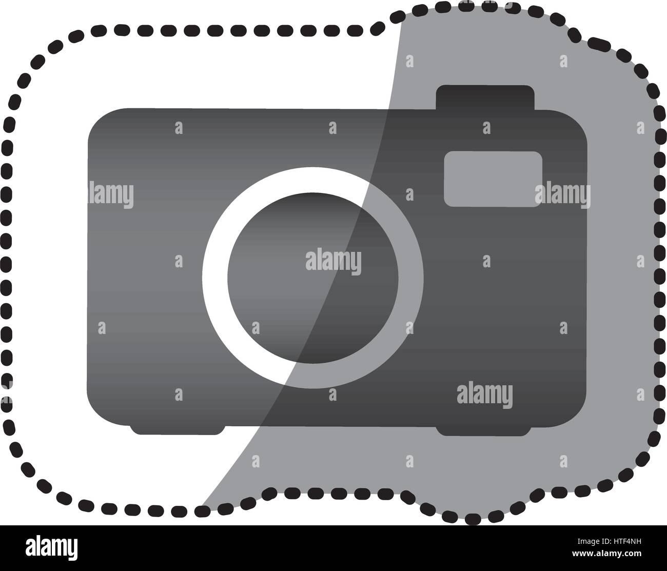 grayscale camera photo icon - Stock Image