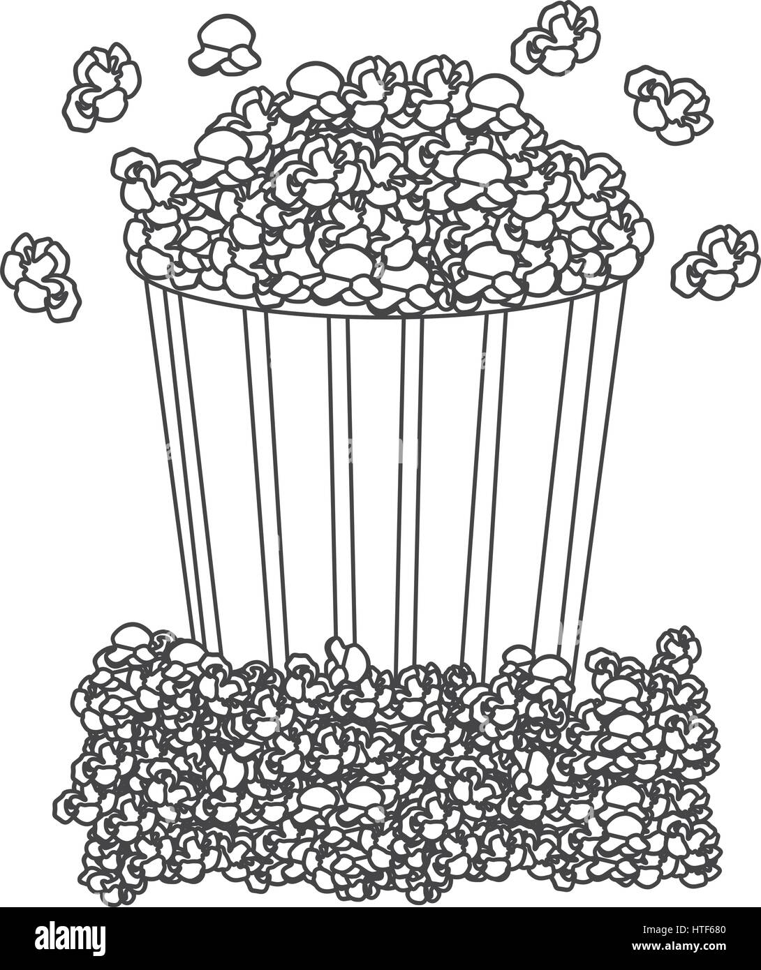 grayscale contour with popcorn container - Stock Image