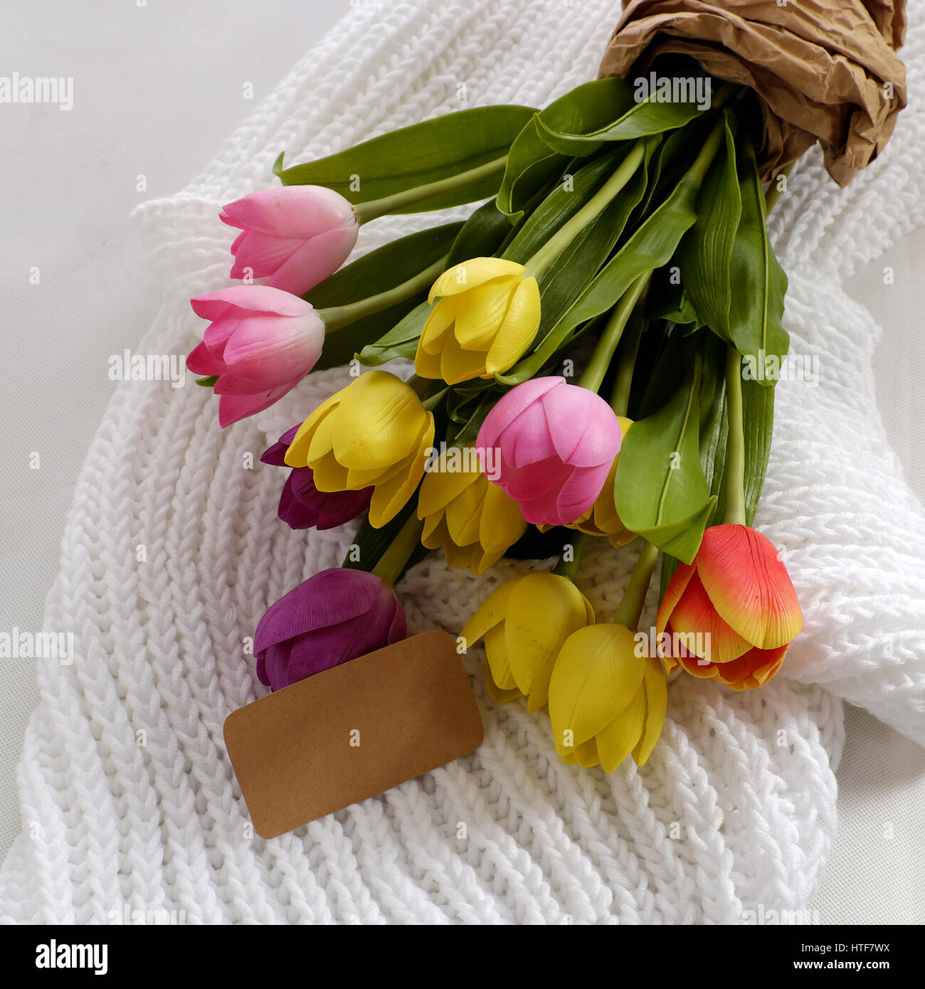 Happy mother day, meaningful handmade gift with knitted white scarf ...