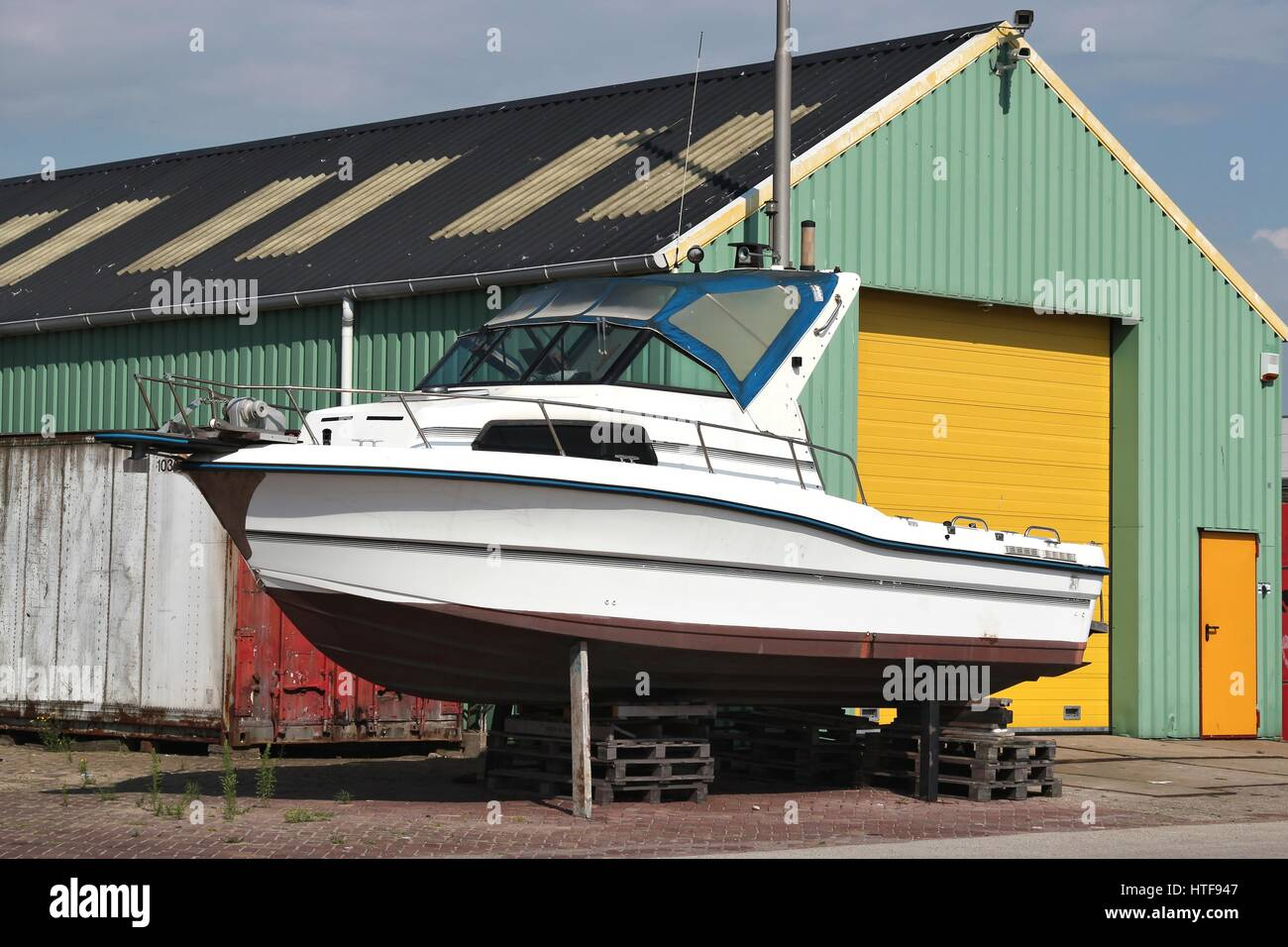 motorboat at shipyard for maintenance Stock Photo