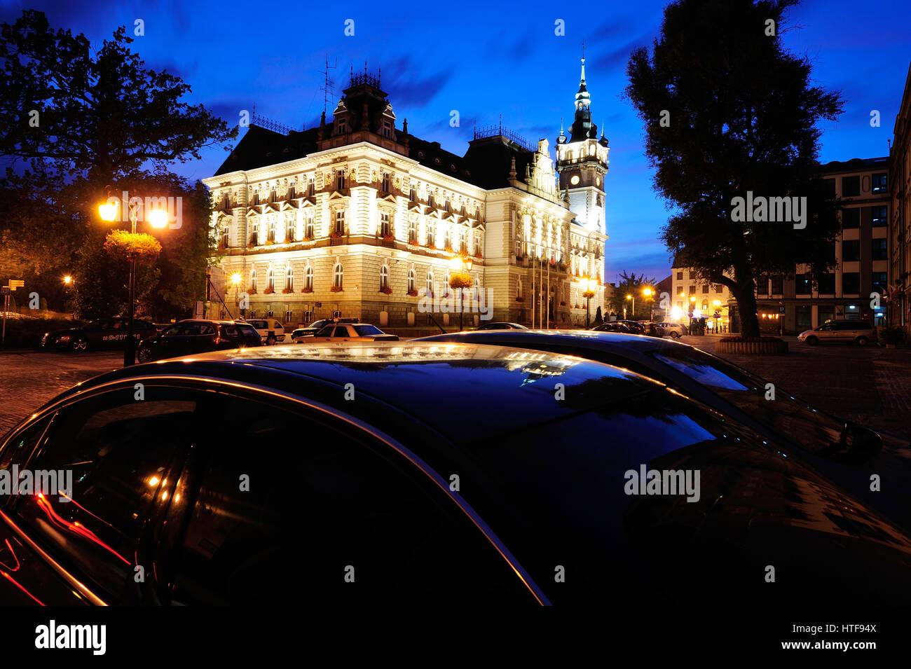 architecture, bielsko-biala, city, cityscape, clock, downtown, europe, evening, hall, illuminated, landmark, night, - Stock Image