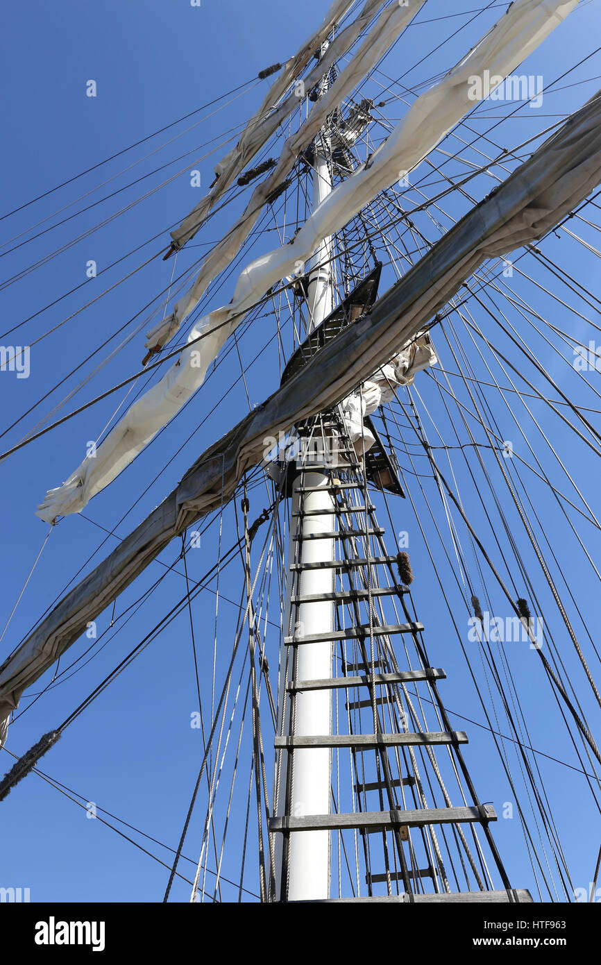 square rigged mast of a barquentine - Stock Image