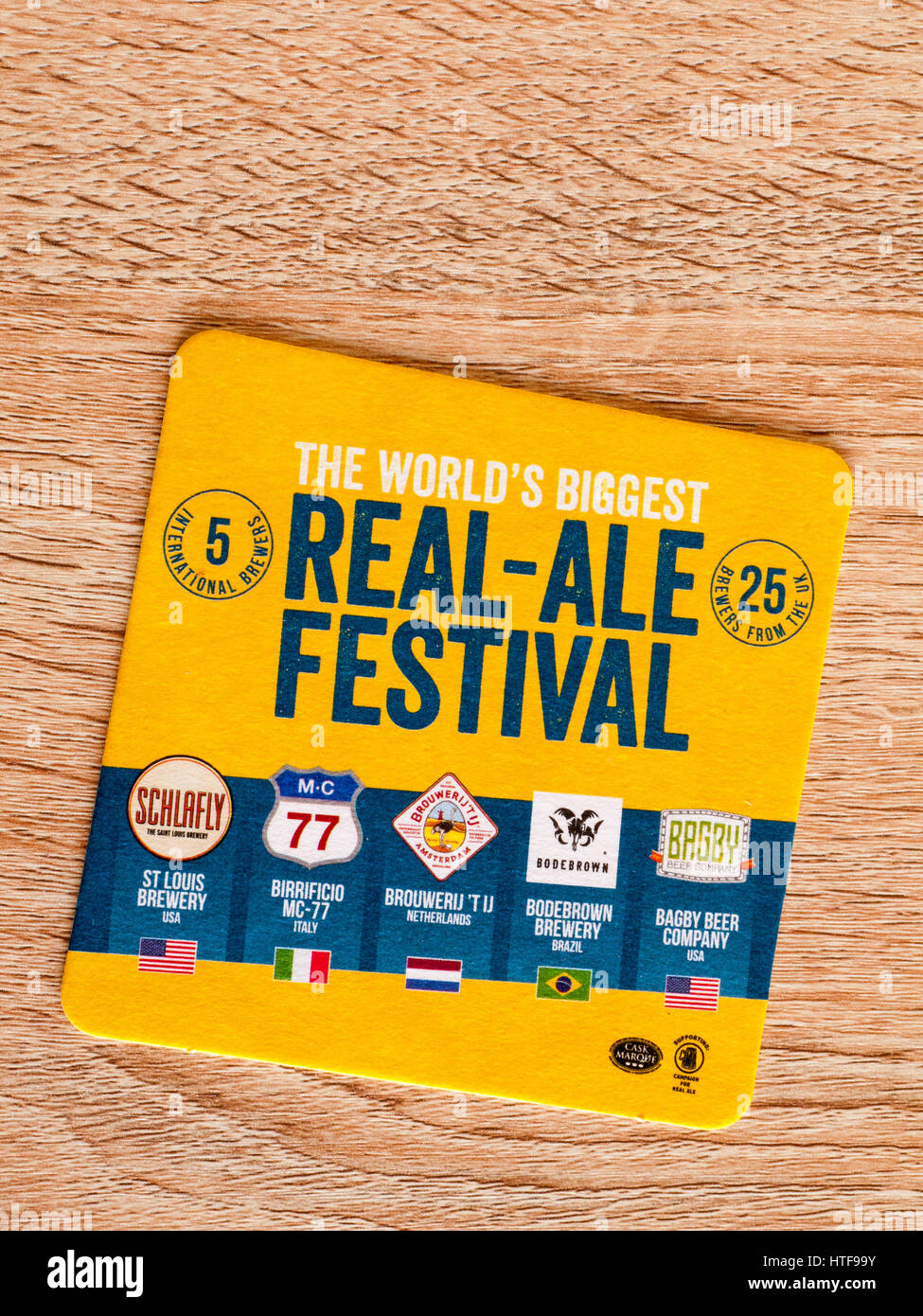Real ale festival beer mat Stock Photo
