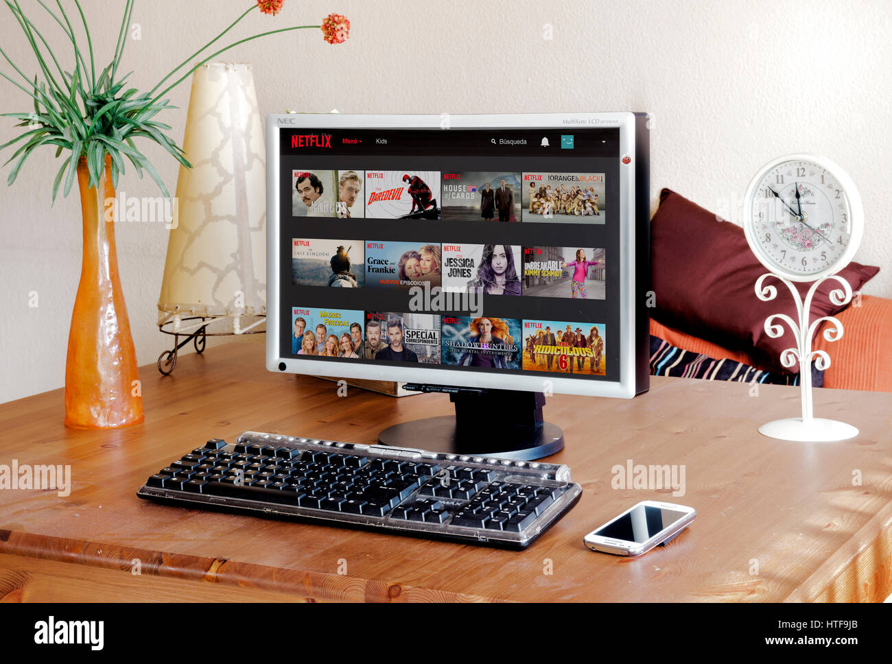 BARCELONA, SPAIN - FEBRUARY 13, 2016: Netflix website in the PC screen, Netflix is the world's leading subscription - Stock Image