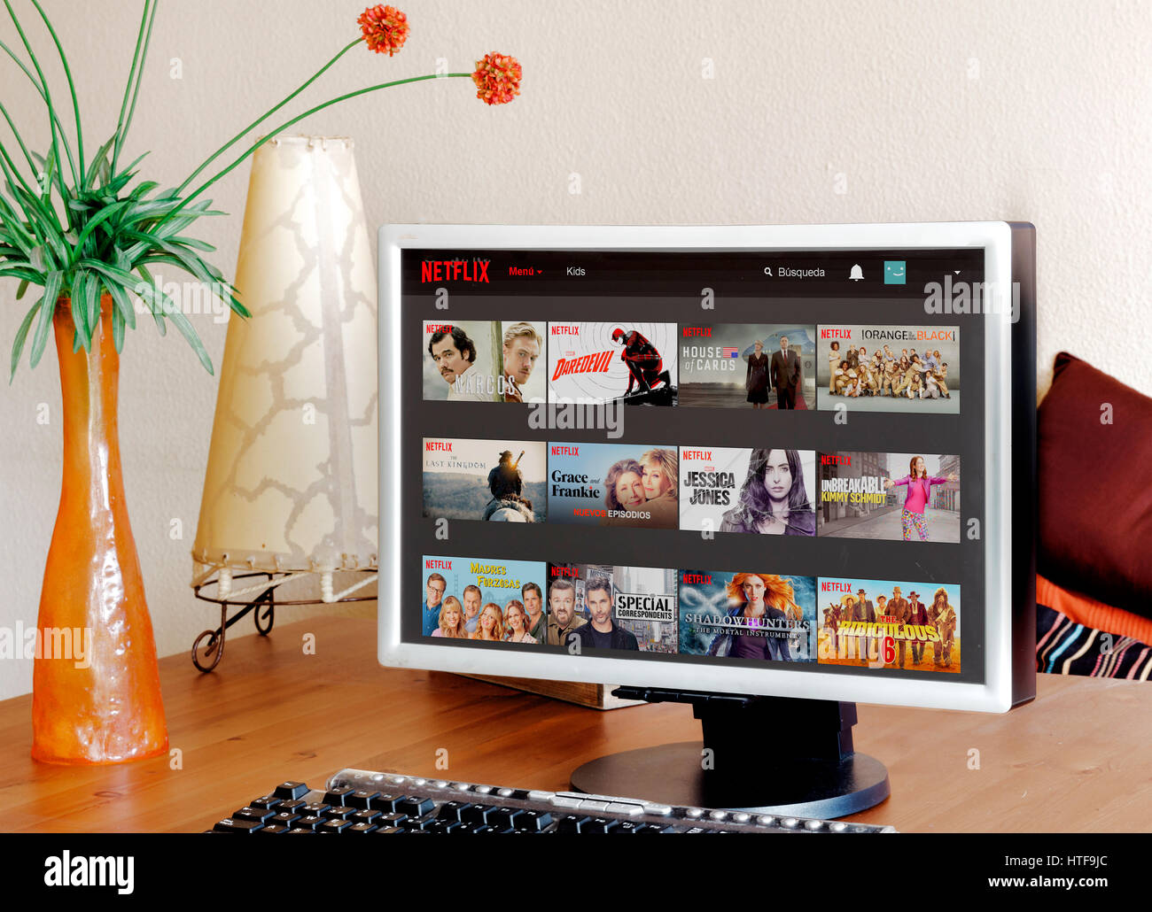 Netflix in the computer screen - Stock Image