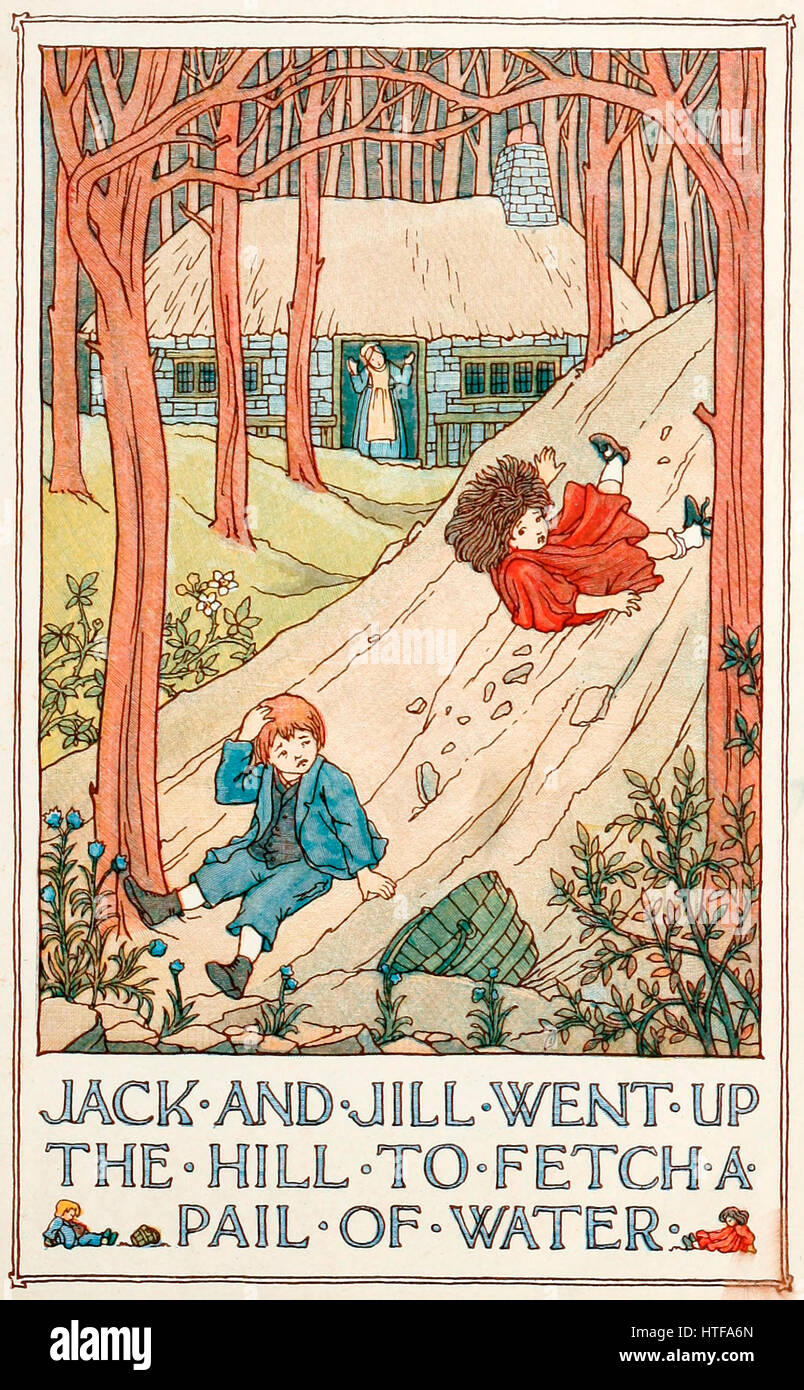 Jack and Jill went up a Hill to fetch a Pail of Water - Stock Image