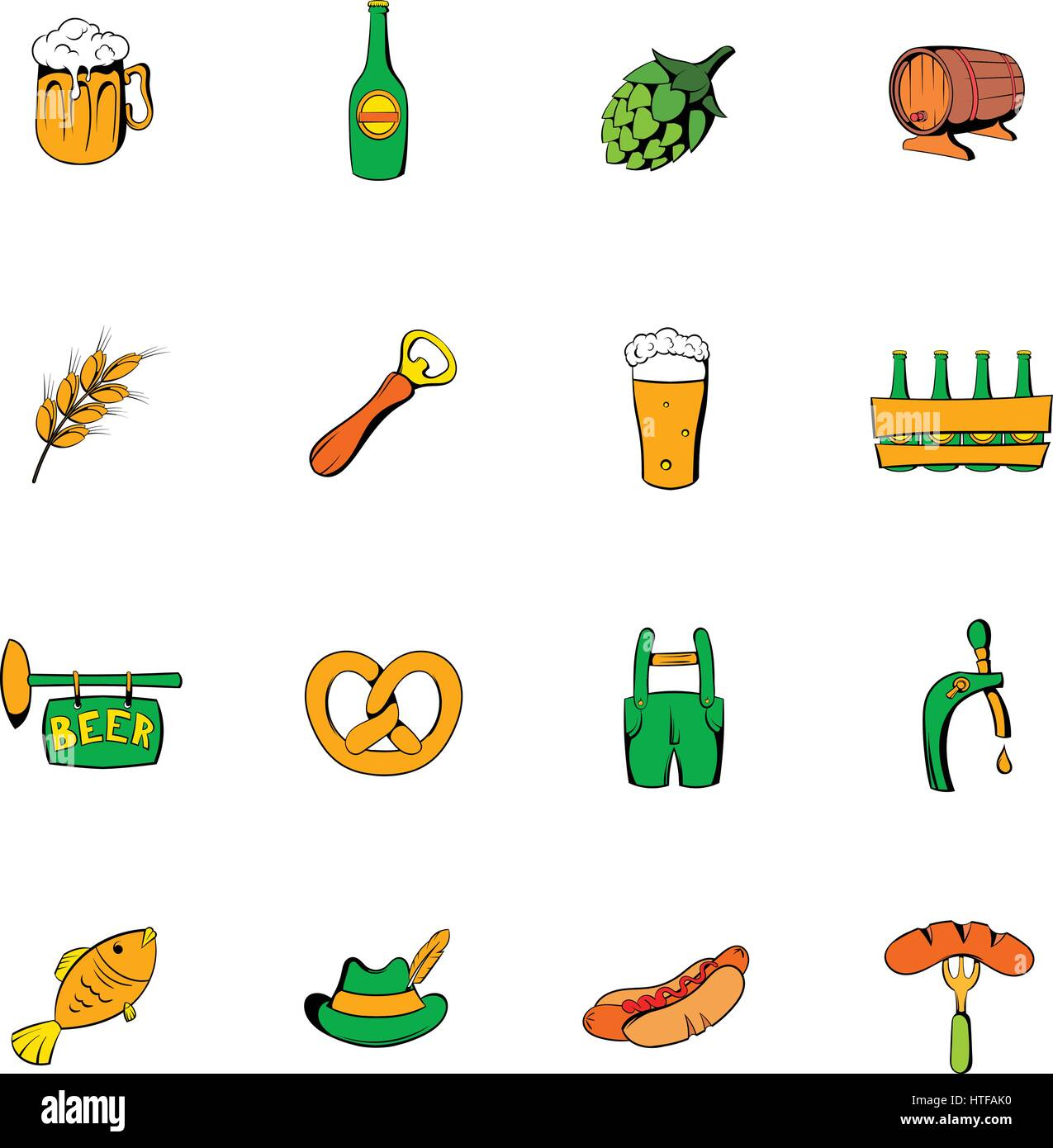 Oktoberfest set icons set in cartoon style isolated on white background vector illustration - Stock Photo