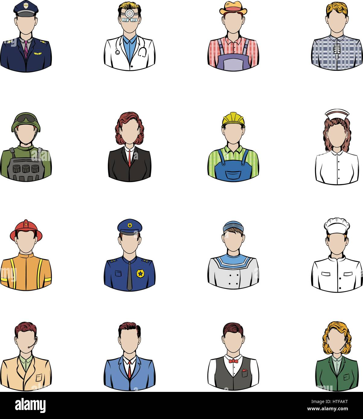 Profession icons set in cartoon style isolated on white background vector illustration - Stock Vector