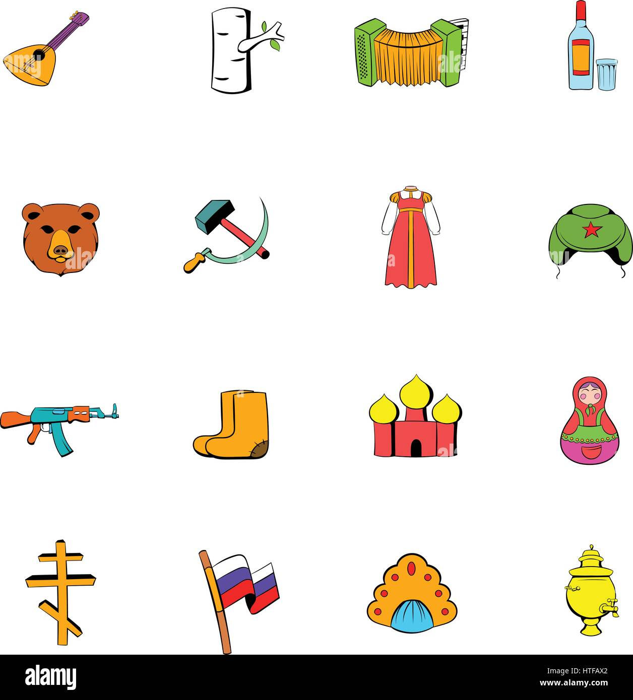 Russia set icons set in cartoon style isolated on white background vector illustration - Stock Vector
