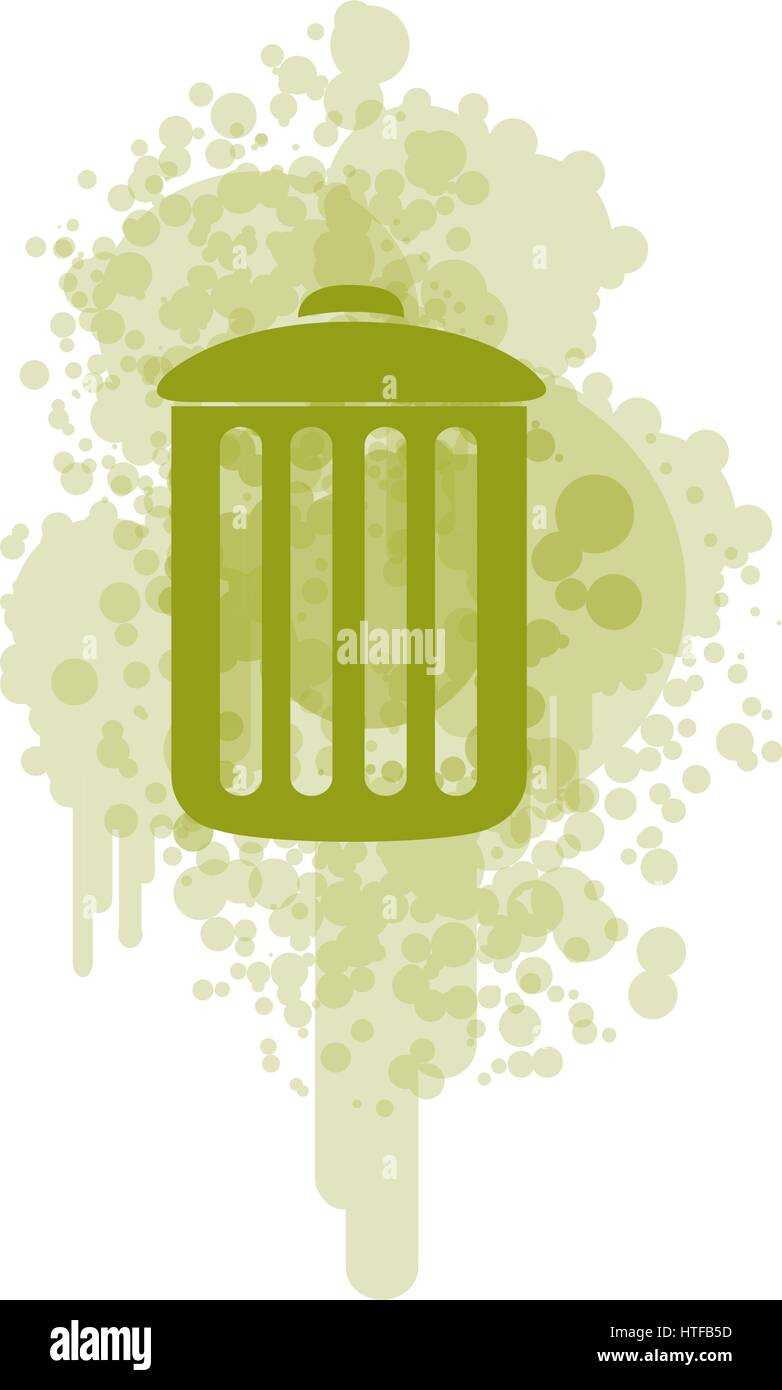 green recycle basket icon - Stock Image