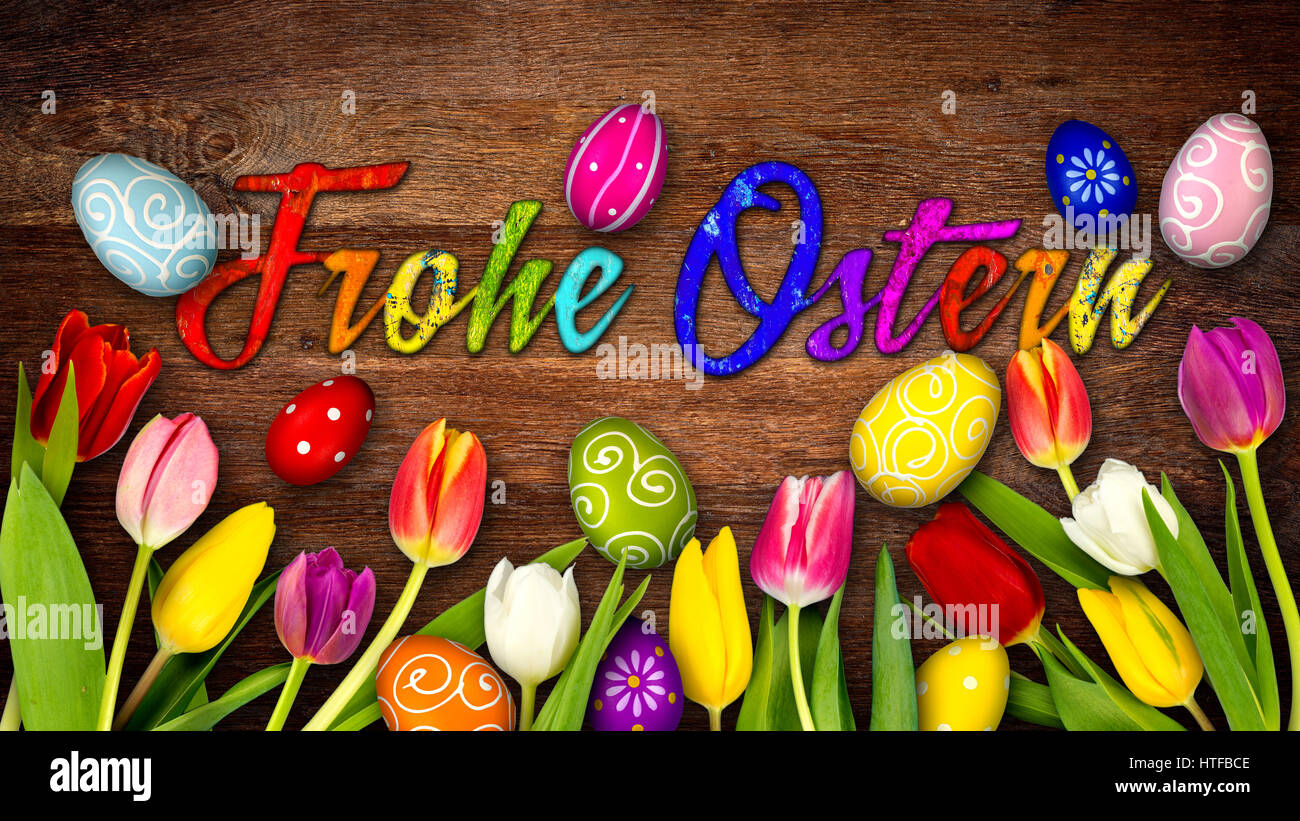 Colorful Wooden German Happy Easter Background Tulips Eggs Nest Basket On Rustic Old Oak Wood Texture