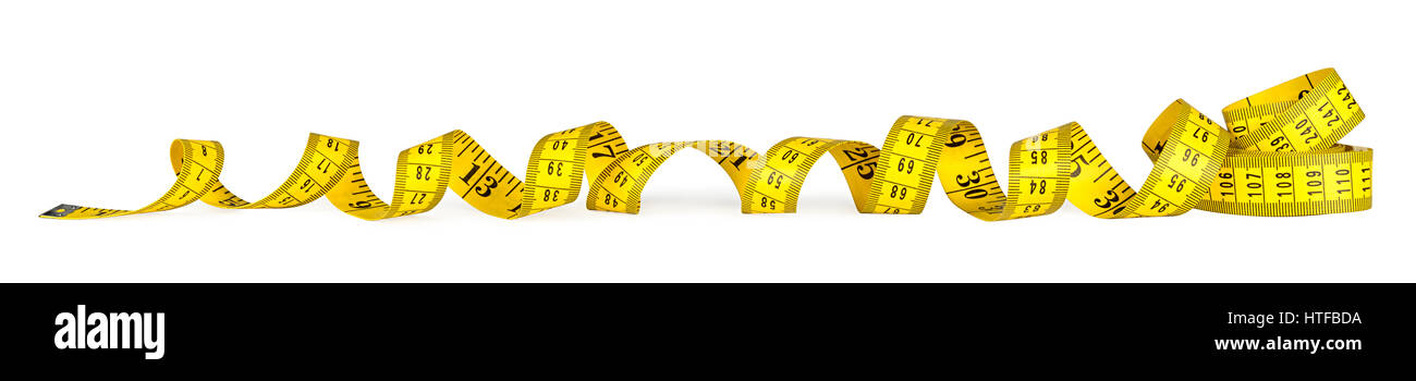 yellow isolated metric measuring tape on white panorama background - Stock Image