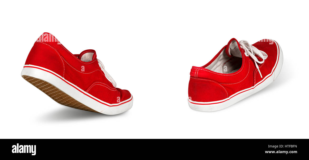 empty red ghost sneaker shoes walking concept isolated on white background - Stock Image