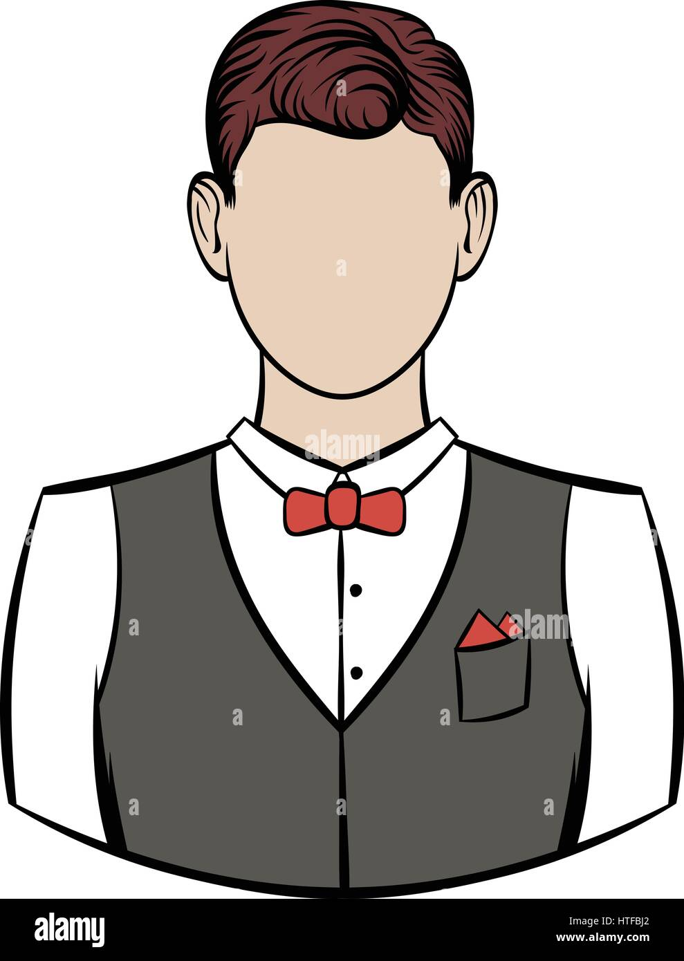 A man in white shirt black waistcoat and red bow tie icon ...