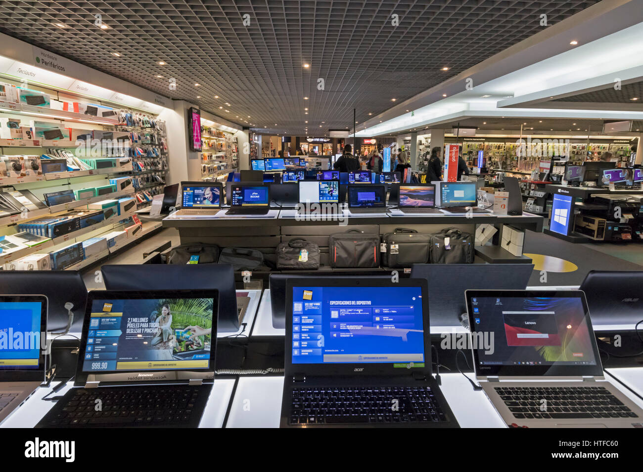 Marbella, Costa del Sol, Malaga Province, Andalusia, southern Spain.  Laptop computers on sale at FNAC department - Stock Image