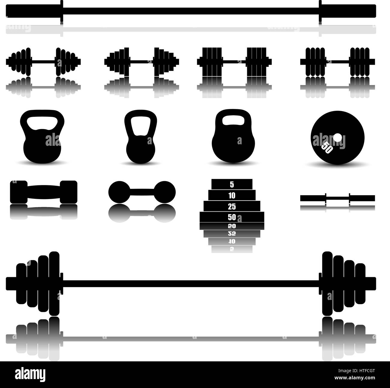 Set of icons with a mirror image of sports equipment for the gym, vector illustration. - Stock Vector