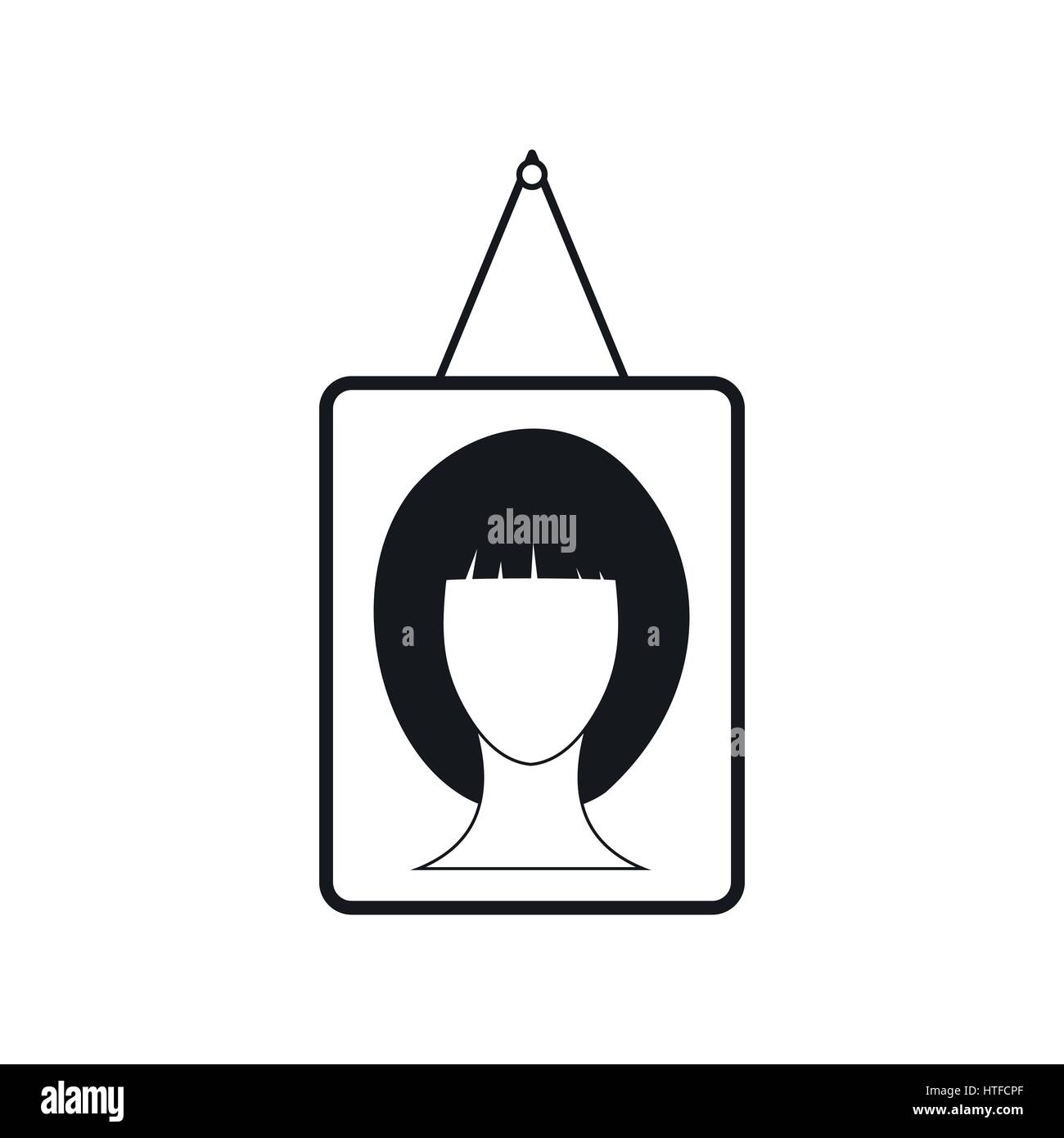 Female photo portrait icon, simple style - Stock Image