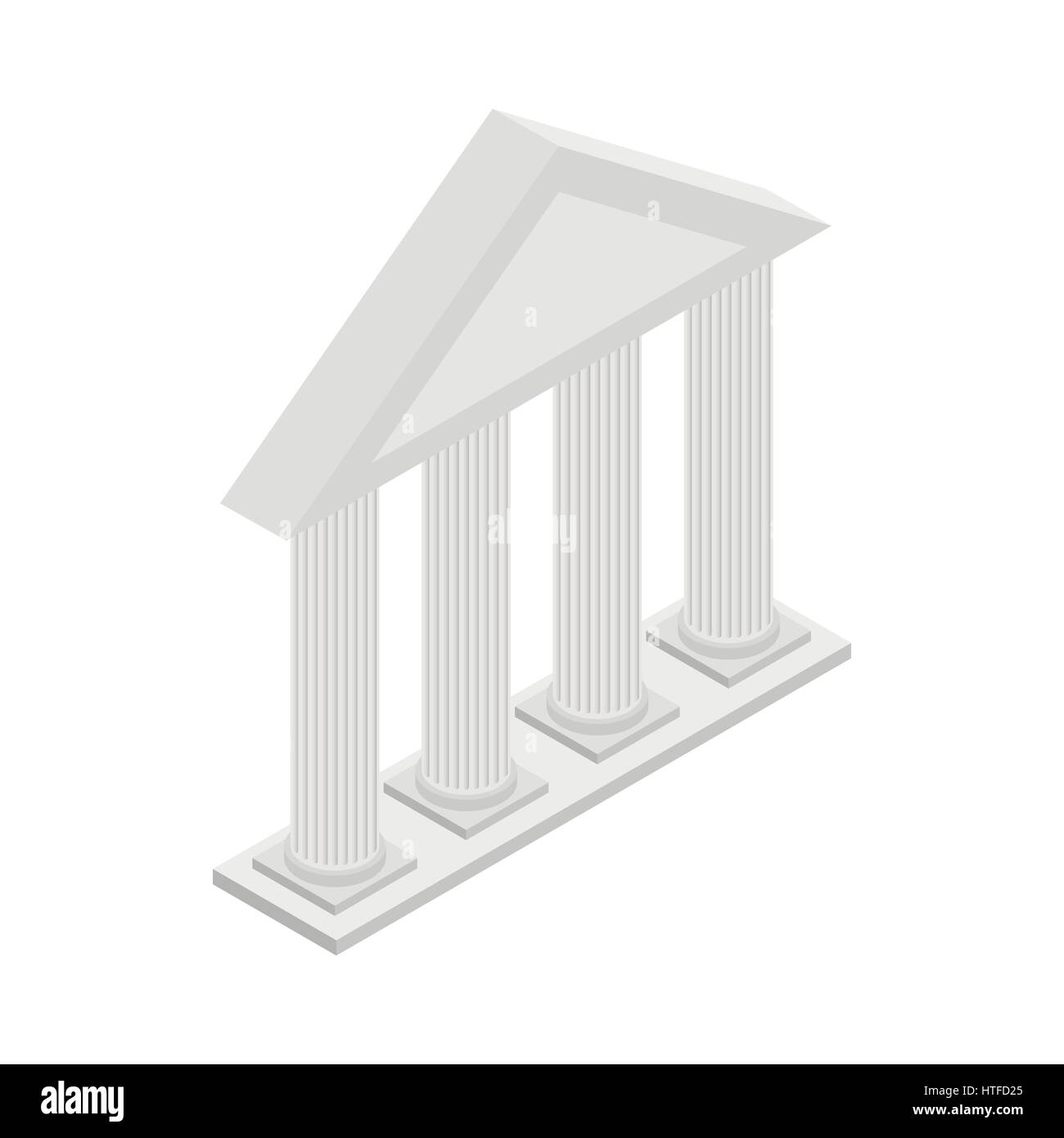 Greek Temple with columns icon, isometric 3d style - Stock Vector