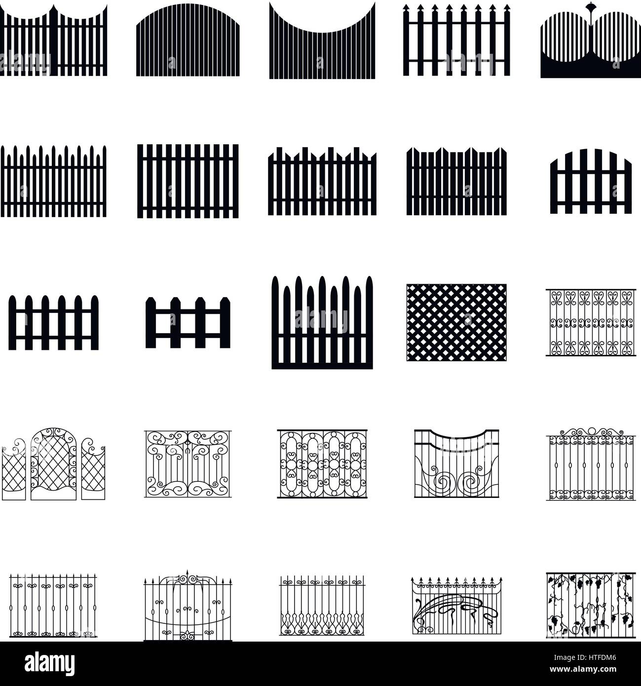 Fence silhouettes set - Stock Vector