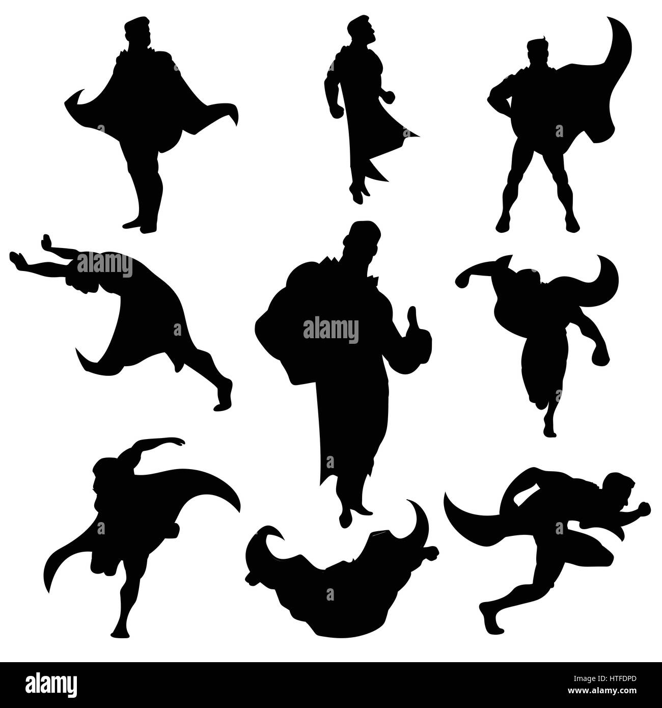 Superhero silhouettes set Stock Vector Art & Illustration ...