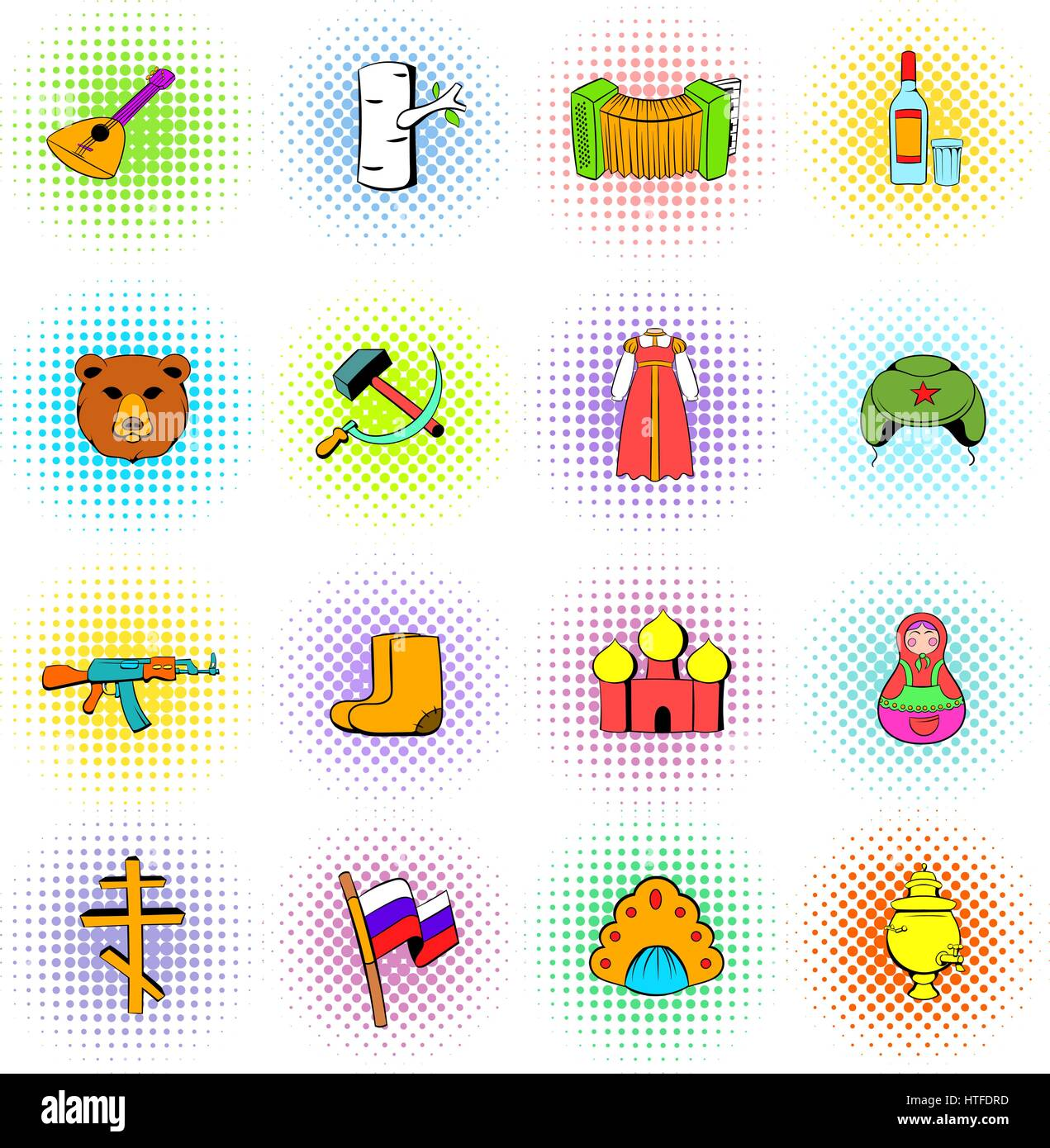 Russia set icons, comics style - Stock Vector
