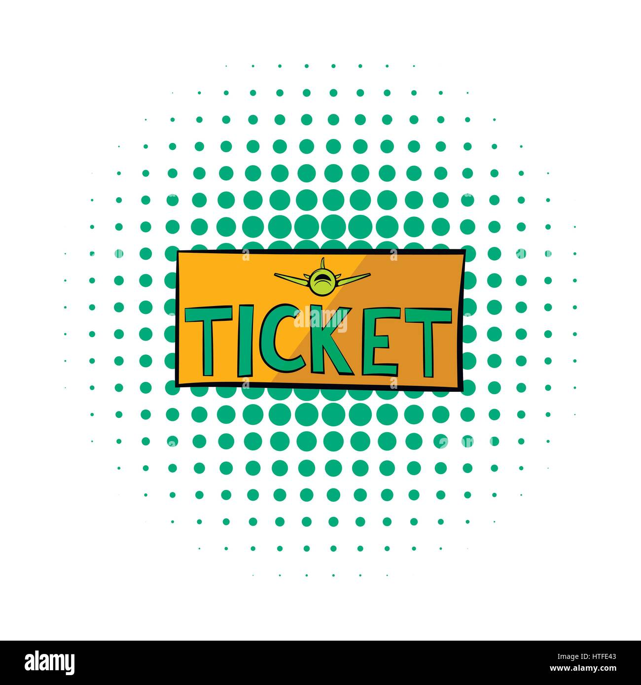 Plane tickets icon, comics style  - Stock Image