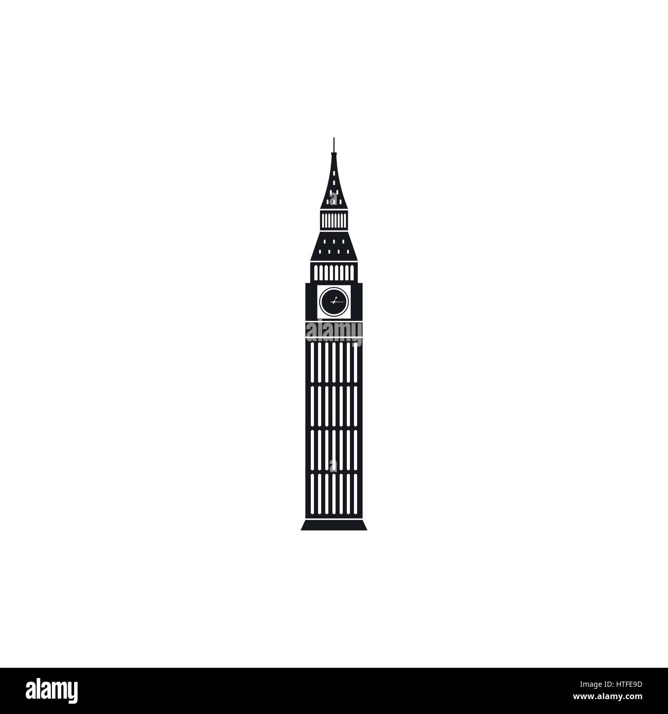 Big Ben in Westminster, London icon, simple style - Stock Image