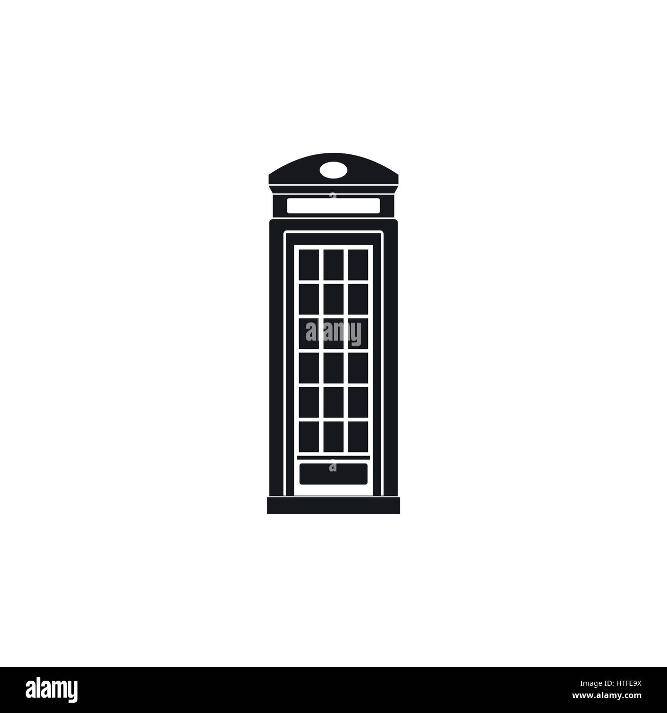 British phone booth icon, simple style - Stock Image