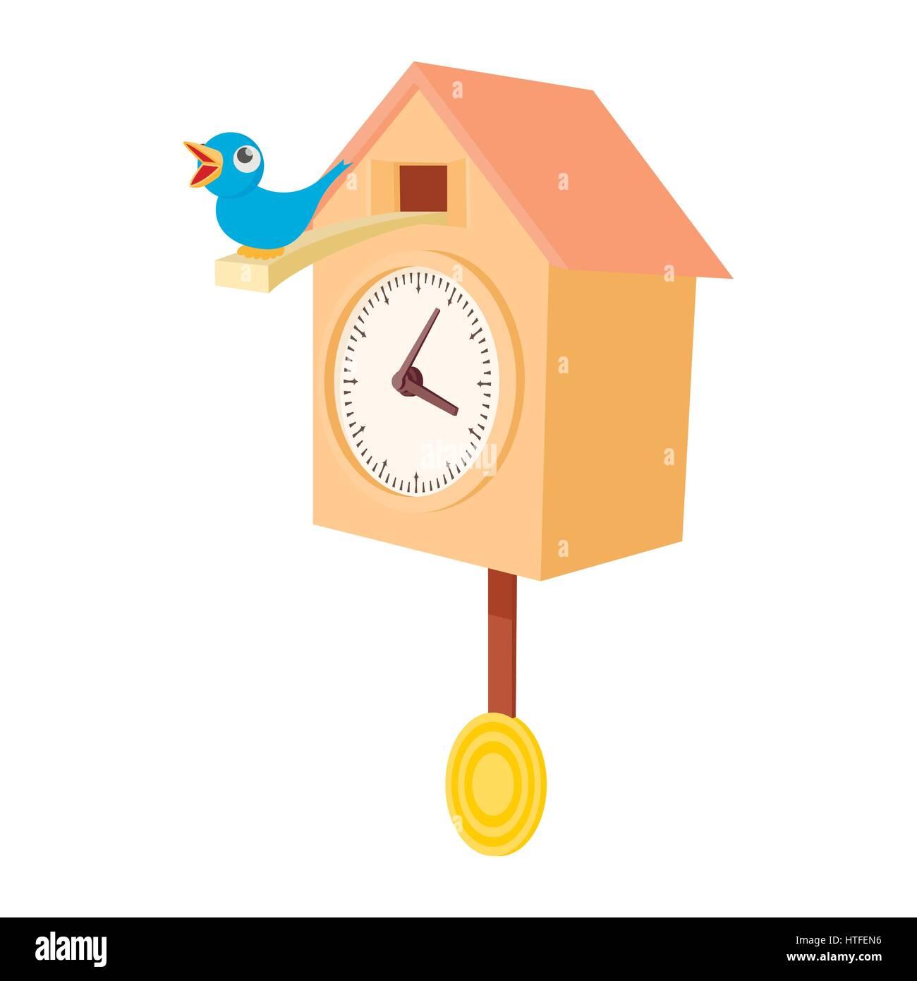 Vintage Wooden Cuckoo Clock Icon Cartoon Style