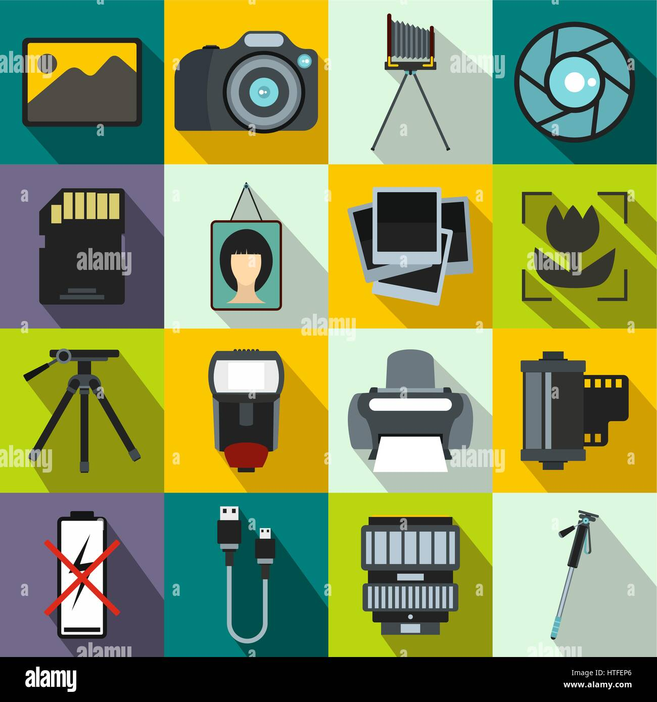 Photography set icons Stock Vector