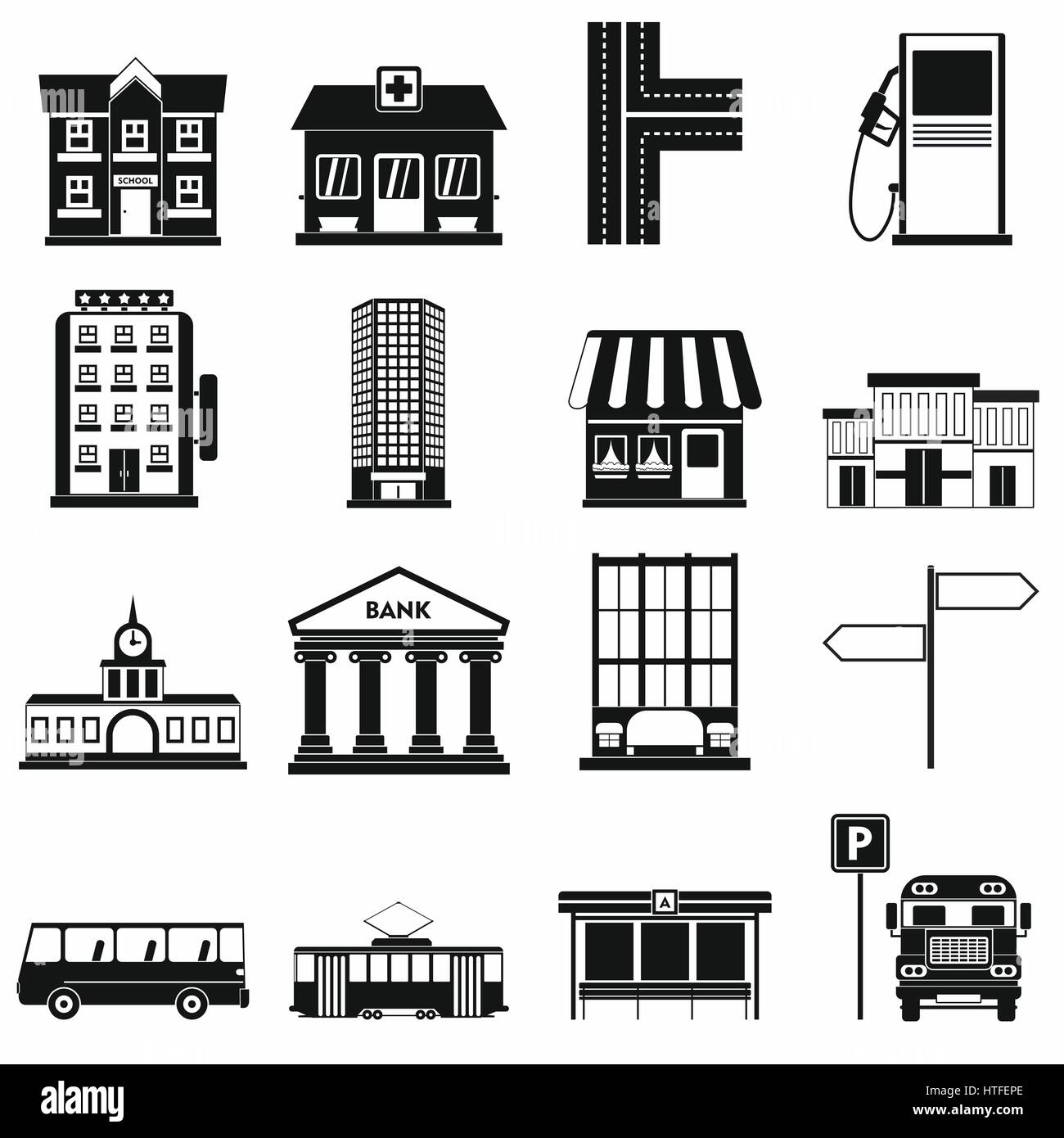 Infrastructure set icons Stock Vector