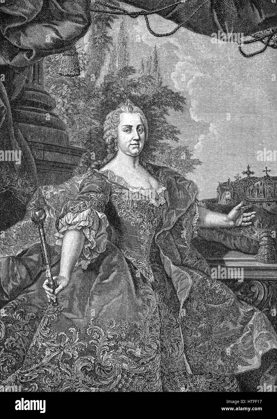Maria Theresa of Austria, 1717 - 1780, Archduchess of Austria and Queen of Hungary, Croatia and Bohemia - Stock Image