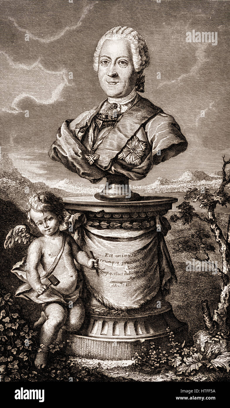 Heinrich, count von Brühl, 1700 - 1763, a German statesman at the court of Saxony and the Polish–Lithuanian - Stock Image