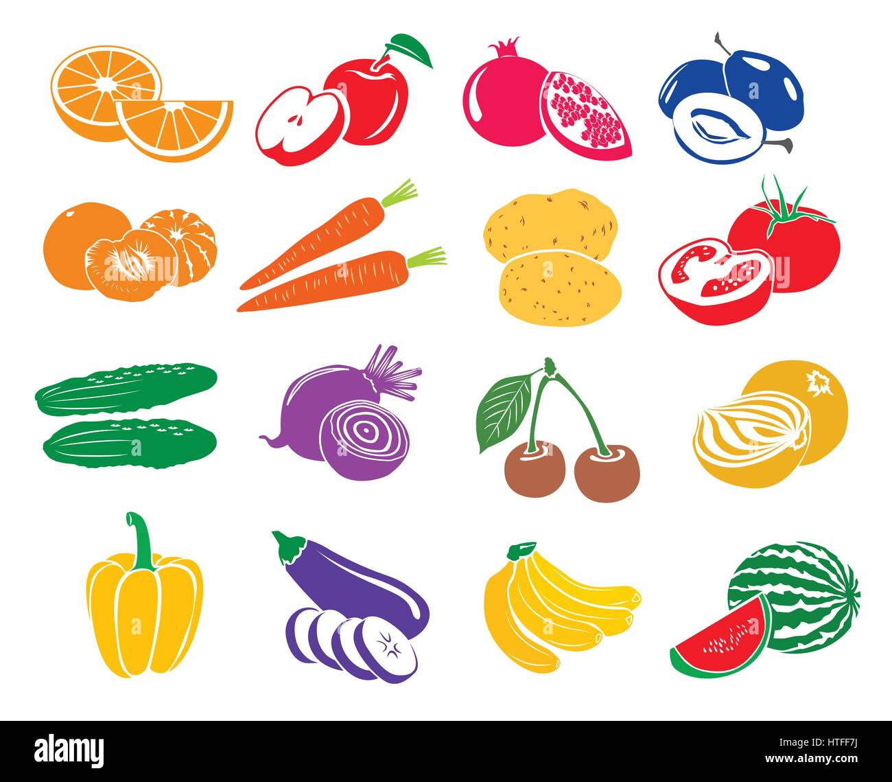 Fruits and vegetables set icons - Stock Vector