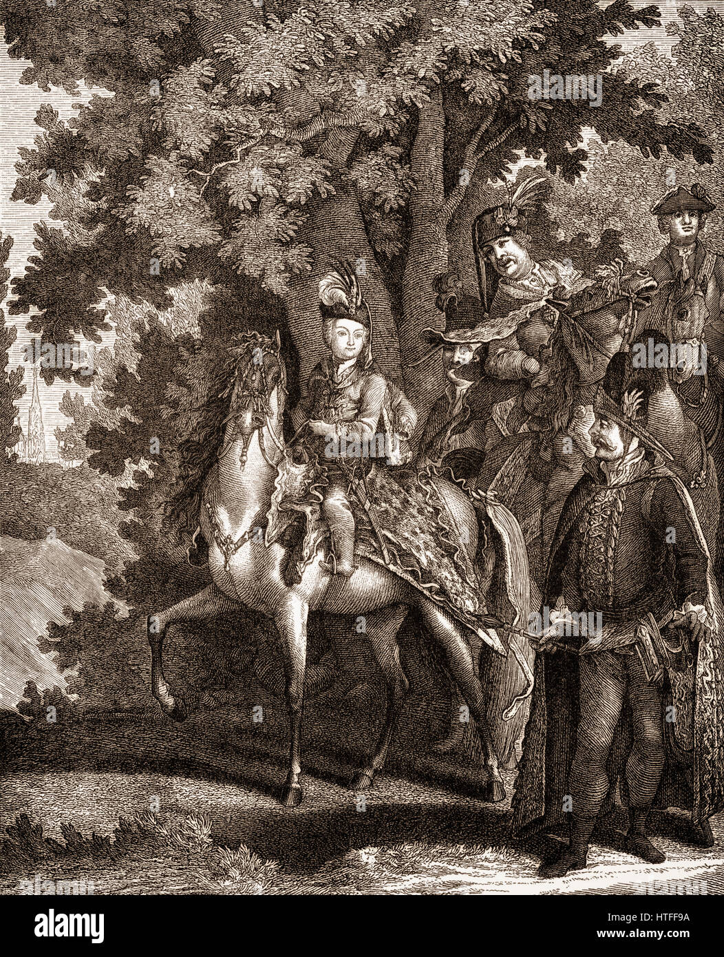 Joseph II, Emperor of Germany, 1741-1790, learning to ride at the age of six Stock Photo