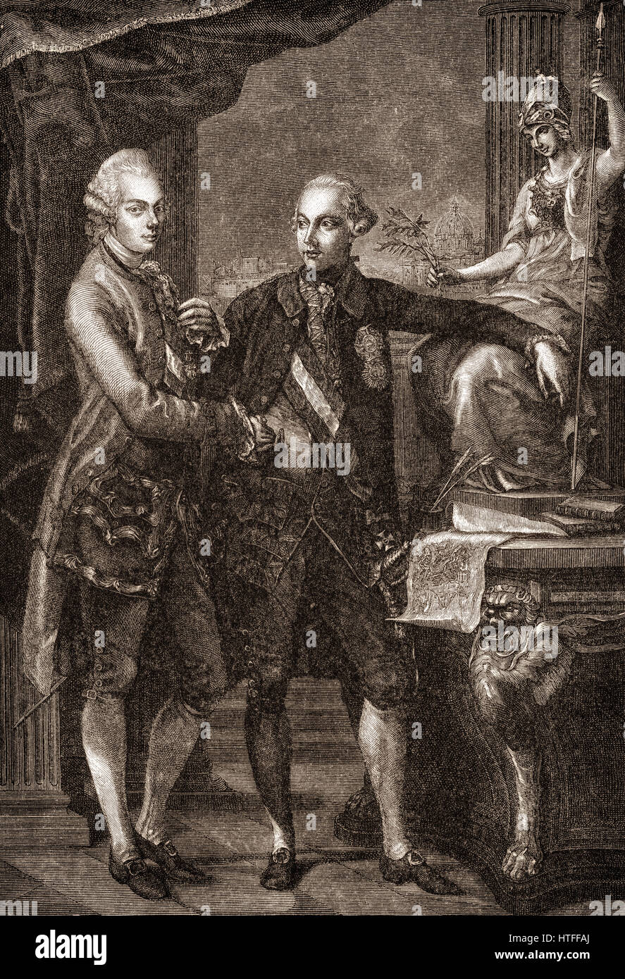 Leopold II, 1747-1792, with his brother Joseph II, 1741-1790, Holy Roman Emperors Stock Photo