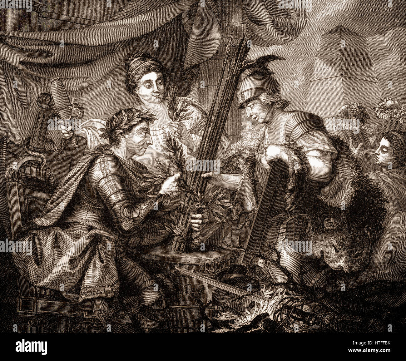 Frederick II of Prussia binding together the League of Princes, allegorical representation of 1786 - Stock Image