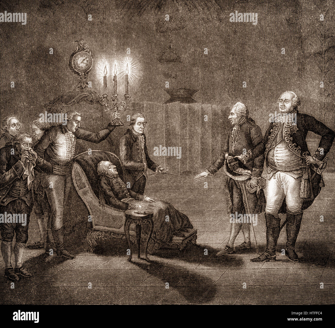 Frederick II or Frederick the Great, 1712-1786, King of Prussia, dying, Sanssouci Palace, Potsdam, Germany - Stock Image