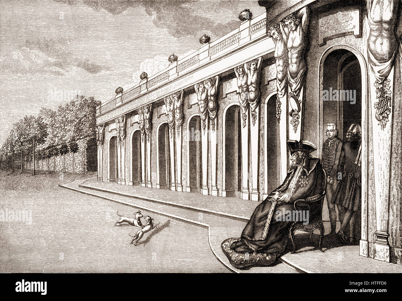 Frederick II or Frederick the Great, 1712-1786, King of Prussia in his last days on the terrace of Sanssouci Palace, - Stock Image