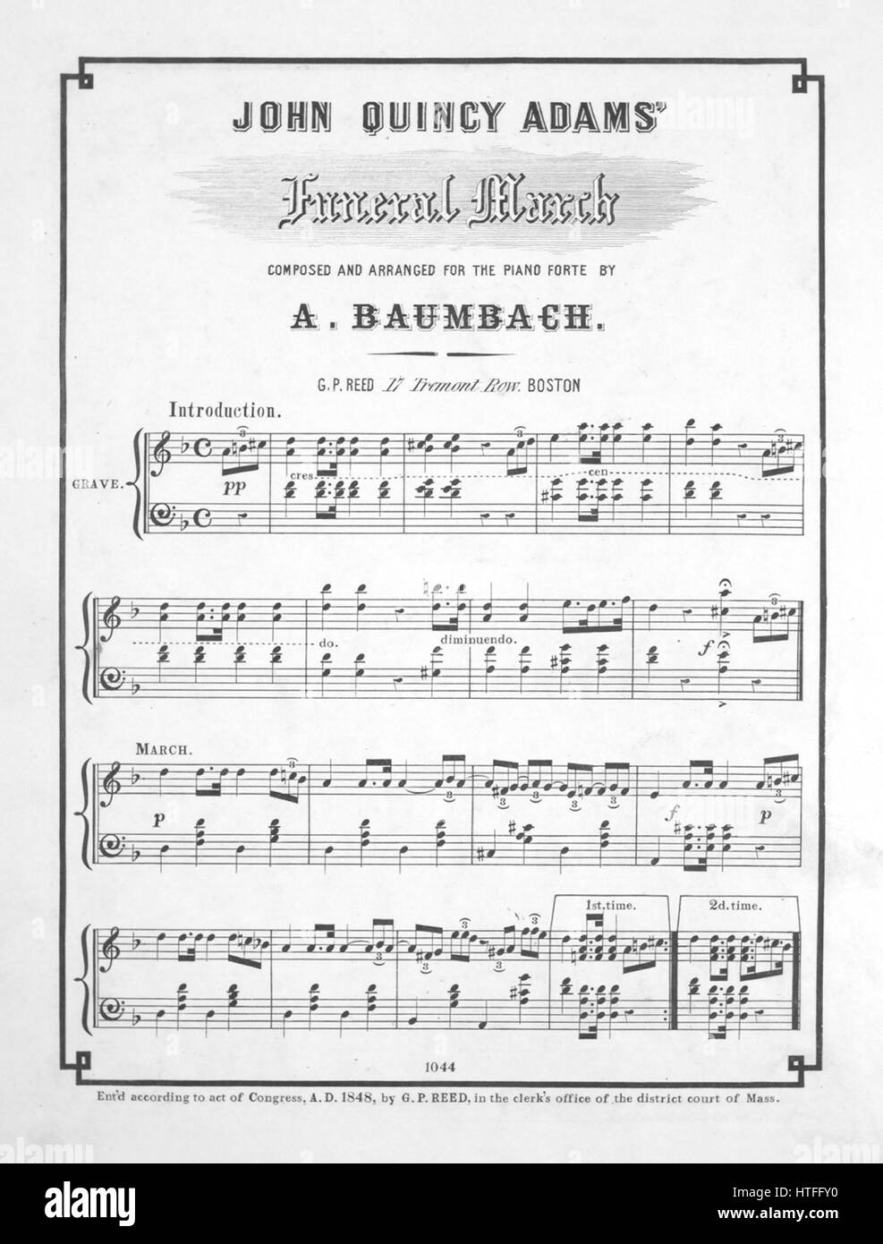 sheet music cover image of the song john quincy adams funeral march