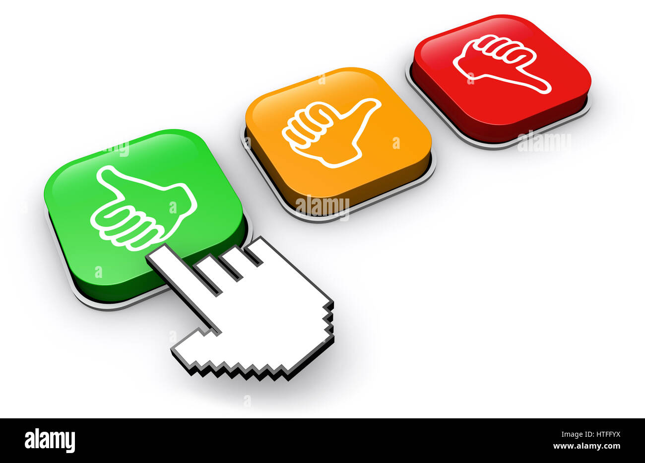 Happy customer clicking on positive feedback button business and marketing abstract concept 3d illustration. - Stock Image