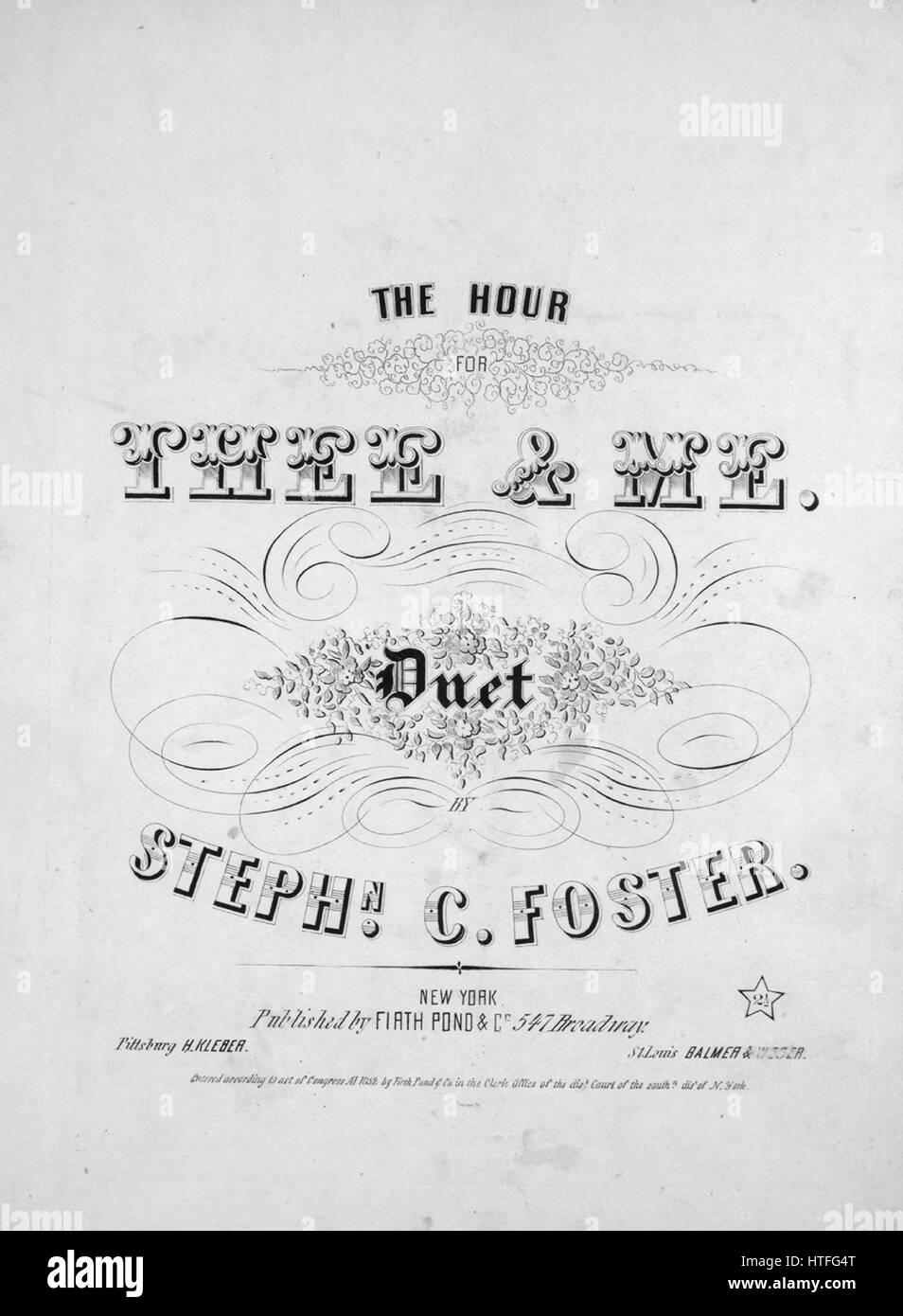 Sheet music cover image of the song 'The Hour For Thee and Me Duet', with original authorship notes reading - Stock Image