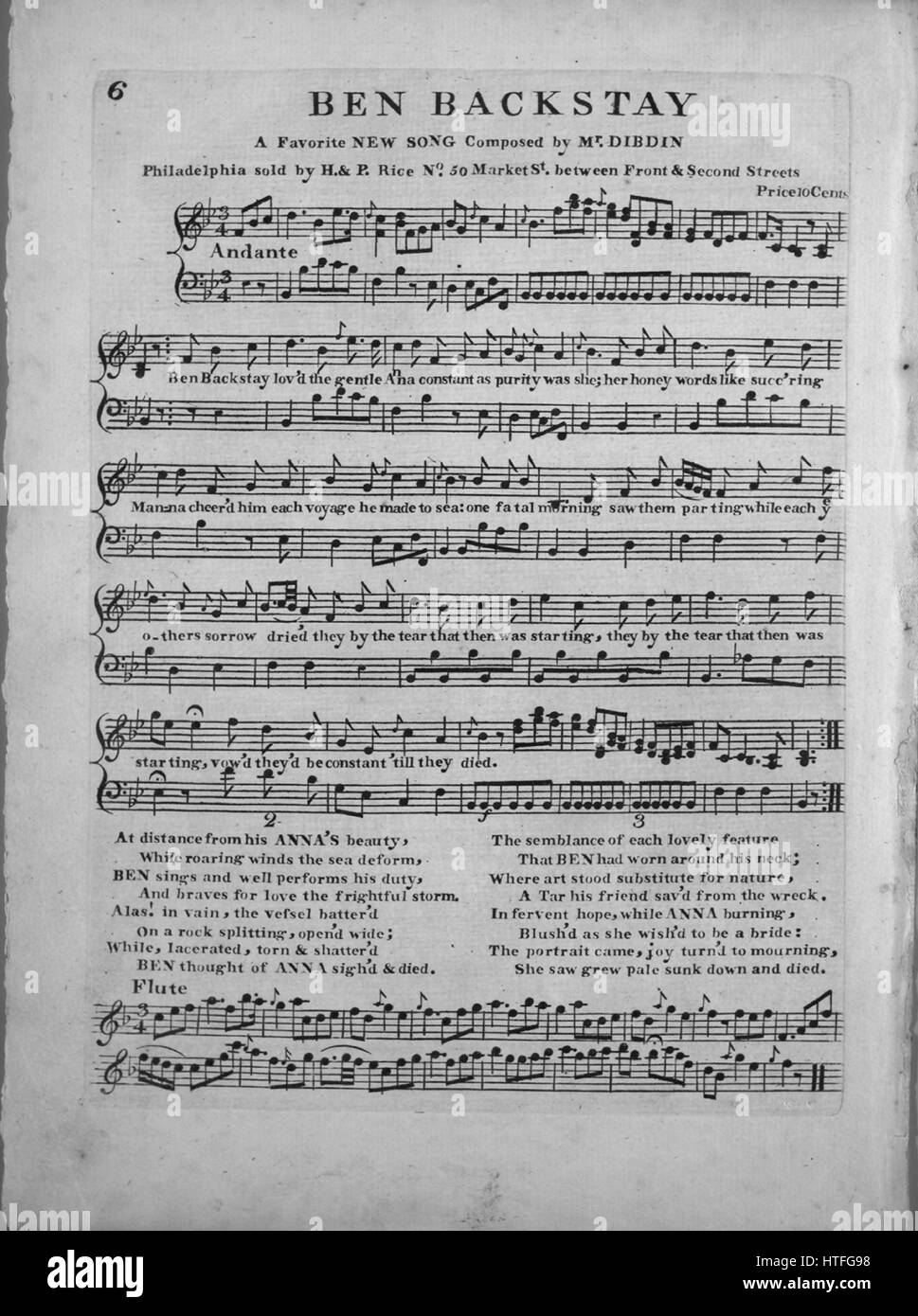 Sheet music cover image of the song 'Ben Backstay A Favorite New Song', with original authorship notes reading - Stock Image