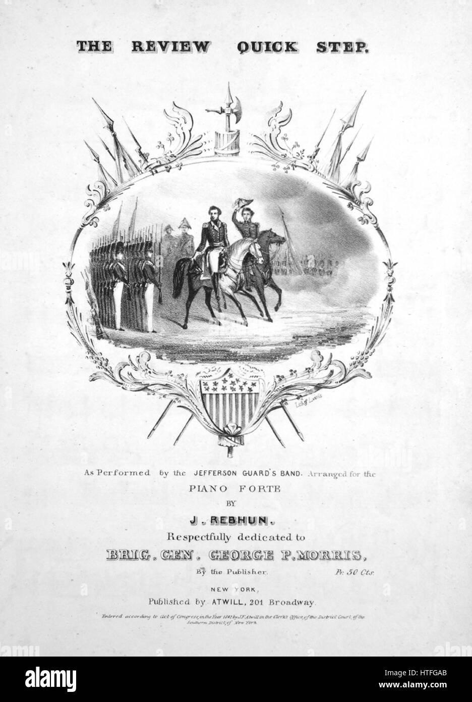 Sheet music cover image of the song 'The Review Quick Step', with original authorship notes reading 'Arranged - Stock Image